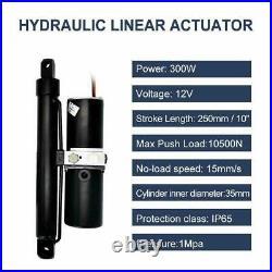 12V Hydraulic Linear Actuator Heavy Duty 2300lbs 10 Stroke Length Rugged Duty