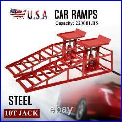 2PCS Heavy Duty Lift Frame Repair Auto Service Car Lifts Ramps Hydraulic Durable