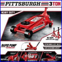 3 Ton Heavy Duty Steel Floor Jack Rapid Pump Show Car Lowrider