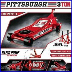 3 Ton Low Profile Floor Jack HEAVY DUTY Steel Rapid Lift Pump Hydraulic Car Auto