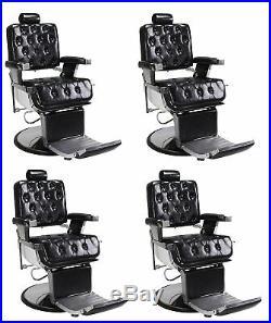 4x ROWLING Stylish Barber Chair Black HeavyDuty Hydraulic Reclining Salon Chair
