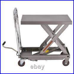 500 lbs Capacity Rolling Table Cart Hydraulic Cart WithFoot Pump Dolly Heavy Duty