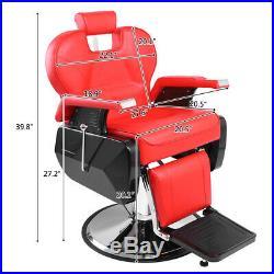 5Fashion Red Heavy Duty Hydraulic Barber Chair Recline Salon Beauty Spa Shampoo