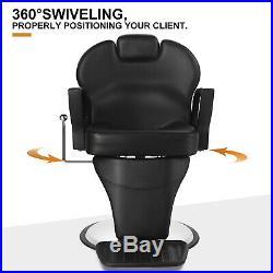 Black Classic Hydraulic Barber Chair Beauty Salon Tattoo Heavy Duty Equipment