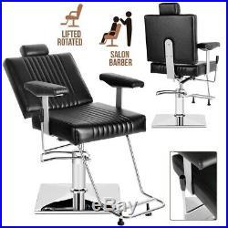 Black Hydraulic Recliner Barber Chair Beauty Salon Tattoo Heavy Duty Equipment