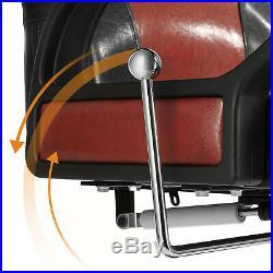 Black Red Classic Modern Salon Barber Chair Heavy Duty Hydraulic Tattoo Recliner