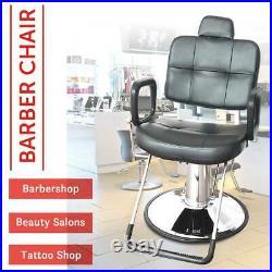 Classic Black Barber Chair Hydraulic Recline Heavy Duty Profession Salon Stylist