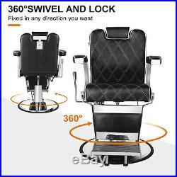 Classic Vintage Barber Chair Heavy Duty Hydraulic Recline Advanced Black Salon