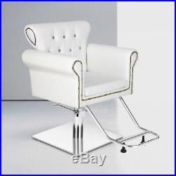 Heavy Duty Hydraulic Antique Barber Chair Salon Beauty Shampoo Equipment White