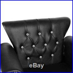 Heavy Duty Hydraulic Barber Chair Salon Sofa Equipment with Golden Rivet Black