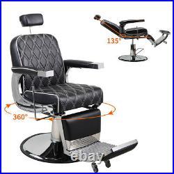 Heavy Duty Hydraulic Recline Barber Chair Salon Beauty, All Purpose Equipment PU