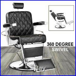 Heavy Duty Hydraulic Recline Barber Chair Salon Beauty Spa Shampoo Black Vintage