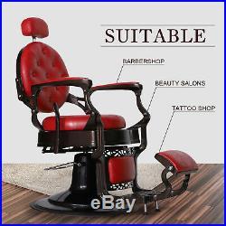Heavy Duty Metal Vintage Barber Chair All Purpose Hydraulic Recline Salon Beauty