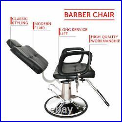 Heavy Duty Reclining Hydraulic Barber Chair Salon Beauty Shampoo Styling Black