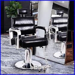 Heavy Duty Vintage Barber Chair Hydraulic Reclining Antique Salon Equipment BK