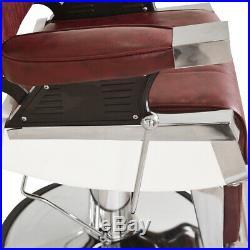 Hydraulic Reclining Barber Chair Hair Salon Shampoo Spa Heavy Duty Burgundy New
