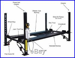 New 8,000 lbs. 4-Post Car Auto Lift with Casters, Ramps, Jack Tray & 3 Drip Trays