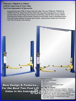 New 9,000 lbs. 2-Post Auto Lift Clearfloor Model Asymmetric or Symmetric Arms