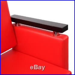 New Heavy Duty Square Beauty Hydraulic Classic Barber Chair Styling Salon Red