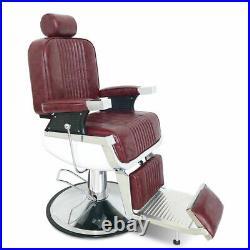 Red Heavy Duty Hydraulic Recline Barber Chair All Purpose Salon Beauty Salon