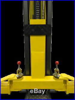 Titan PREMIERE 9,000 lbs. 2-Post Auto Lift Floorplate Model, Asymmetric Arms