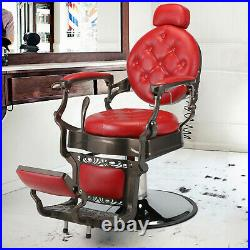 Vintage Barber Chair Heavy Duty Metal All Purpose Hydraulic Recline StylingChair