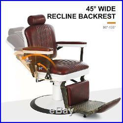 Vintage Hair Salon Hydraulic Recline Barber Chair Heavy Duty White Retro Base