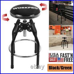 WORKPRO Swivel Rolling Chair Black Heavy Duty Adjustable Hydraulic Shop Stool US